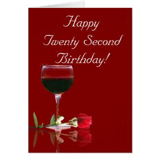 2ò vinho feliz do aniversário e cartão cor-de-rosa