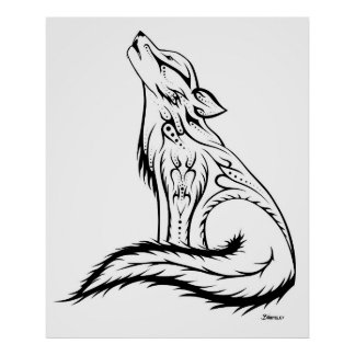 "(30"" x40"") poster do lobo - tribal e nativo"