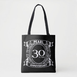 30a crista da pérola do aniversário de casamento bolsa tote