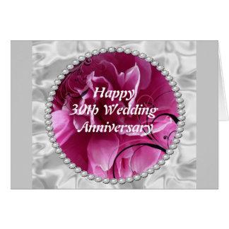 30o Cartão do aniversário de casamento, pérolas &
