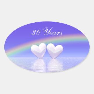 30o Corações da pérola do aniversário Adesivo Oval