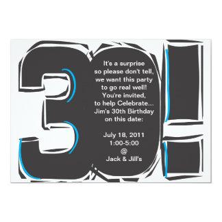 30o O aniversário simples convida Convite