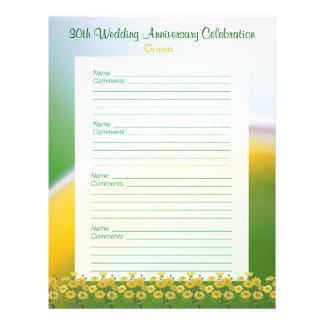 30o Páginas do livro de hóspedes da festa de anive Papéis De Carta Personalizados