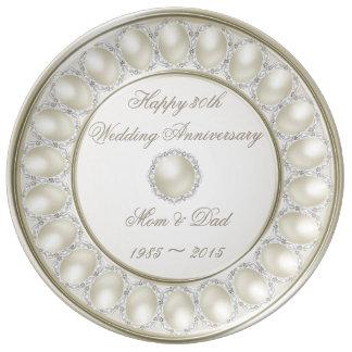 30o Placa da porcelana do aniversário de casamento Prato De Porcelana