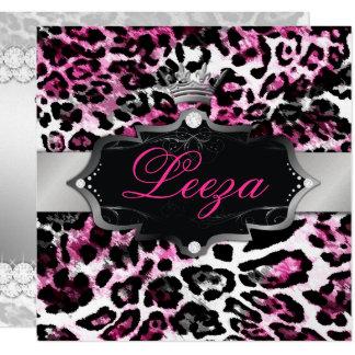 311-Baroque princesa Preto Cor-de-rosa Leopardo Convite Quadrado 13.35 X 13.35cm
