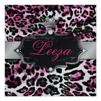 311-Baroque princesa Preto Cor-de-rosa Leopardo Me Convites Personalizados