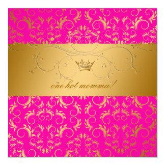 311 chás de fraldas divinos dourados do rosa da convite quadrado 13.35 x 13.35cm
