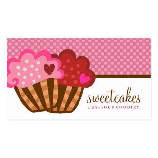 311 corações doces do cupcake dois dos bolos cartão de visita