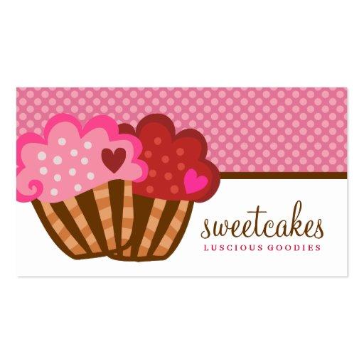 311 corações doces do cupcake dois dos bolos cartoes de visitas