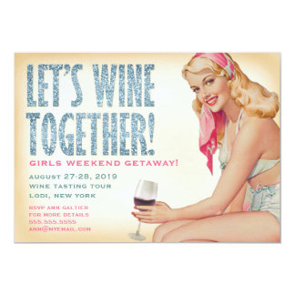 311 deixe-nos Wine junto menina retro do Pinup Convite 12.7 X 17.78cm