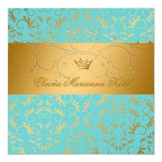 311-Golden diVine o doce 16 do êxtase de turquesa Convite Quadrado 13.35 X 13.35cm