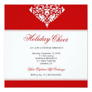 311-Holiday damasco vermelho do elogio | Convite Quadrado 13.35 X 13.35cm