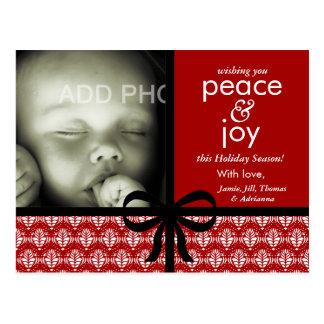 311-Red & cartão de Natal preto com arco