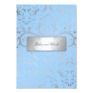 311-Silver Divine a luz de | - azul Convite 12.7 X 17.78cm