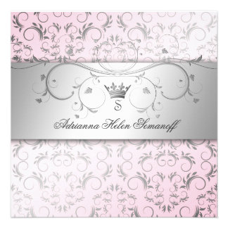 311-Silver Divine o rosa doce Convites Personalizados