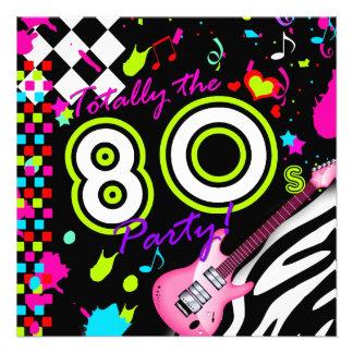 311-Totally o partido do anos 80 - guitarra cor-de Convites Personalizados