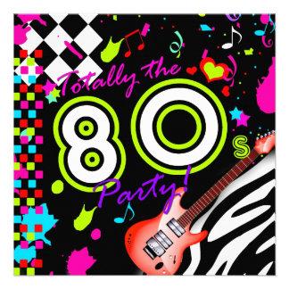 311-Totally o partido do anos 80 - guitarra vermel Convites Personalizados