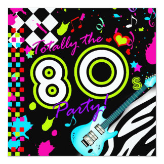 311 totalmente o partido do anos 80 - guitarra de convite quadrado 13.35 x 13.35cm