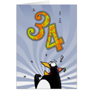 34o aniversário - cartão da surpresa do pinguim