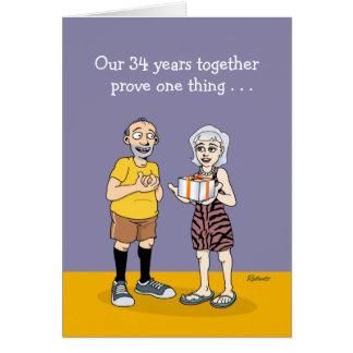 34o aniversário engraçado cartão comemorativo