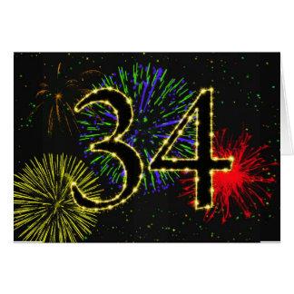 34o Cartão de aniversário com fogos-de-artifício