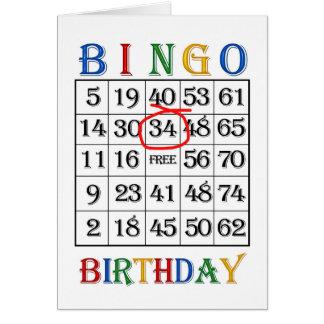 34o Cartão do Bingo do aniversário
