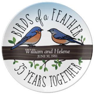 35o Aniversário de casamento, Bluebirds de uma Pratos De Porcelana
