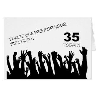 35o Cartão de aniversário com os aplausos que acen