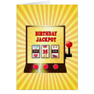 35o cartão do slot machine do aniversário