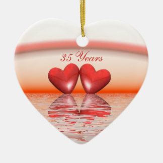 35o Corações do coral do aniversário Ornamento De Cerâmica Coração