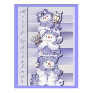 3 bonecos de neve - cartão