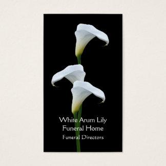 3 diretores fúnebres brancos de lírios de arum cartão de visitas
