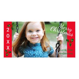 3 Felizes Natais vermelhos do azevinho - cartões Cartão Com Foto