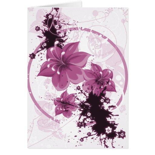 3 flores bonito - rosa cartoes