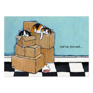 3 gatos & caixas | nós movemos o anúncio cartão de visita grande