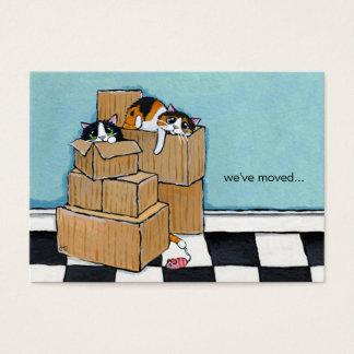 3 gatos & caixas | nós movemos o anúncio cartão de visitas