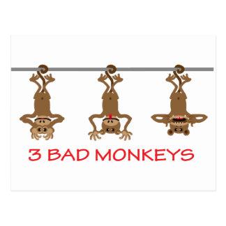 3 macacos maus cartão postal