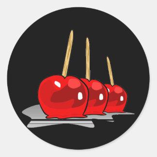 3 maçãs de doces vermelhas adesivos redondos