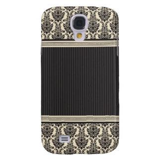 3 marfins/pretos elegantes do damasco capas personalizadas samsung galaxy s4