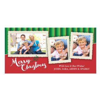 3 molduras para retrato em fundo listrado, Natal Cartão Com Foto