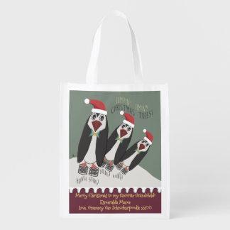3 pinguins elásticos - personalizados sacola ecológica para supermercado