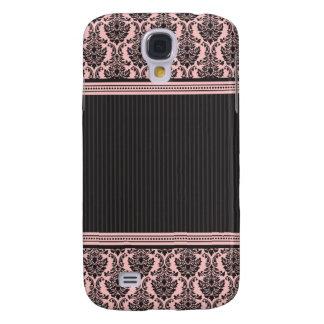 3 rosa/pretos elegantes do damasco galaxy s4 cover