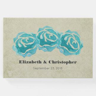 3 rosas da aguarela da cerceta na cor damasco de livro de visitas