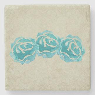 3 rosas da aguarela da cerceta porta copos de pedras