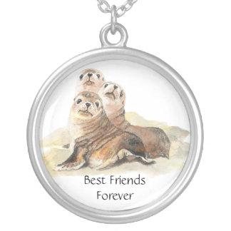 3 selos bonitos, melhores amigos para sempre, BFF, Colar Com Pendente Redondo