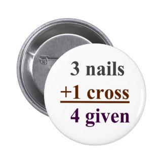 3 unhas + 1 cruz = 4 dados bóton redondo 5.08cm