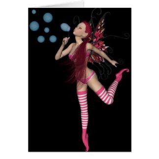 3D duende cor-de-rosa - gráfico feericamente 1 Cartão