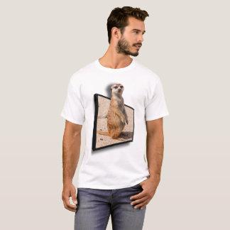 3D EFEITO Meerkat curioso estalando acima fora do Camiseta
