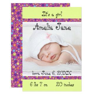 3x5 anúncio recém-nascido roxo/amarelo do bebé