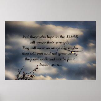 40:31 de Isaiah do verso da bíblia Pôster